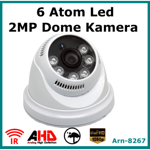 6 Atom Led 2 Mp Full Hd Dome Kamera Arn8267