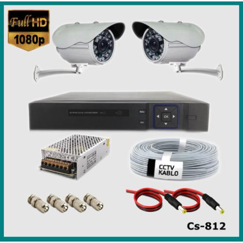2 Kameralı Güvenlik Kamerası Sistemi AHD 1080P ( Cs 812 ) Harddisksiz