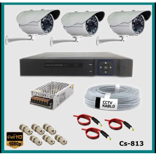 3 Kameralı Güvenlik Kamerası Sistemi AHD 1080P ( Cs 813 ) Harddisksiz