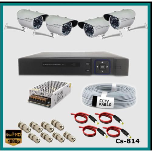 4 Kameralı Güvenlik Kamerası Sistemi AHD 1080P ( Cs 814 ) Harddisksiz