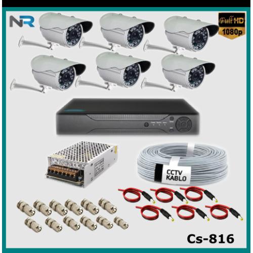 6 Kameralı Güvenlik Kamerası Sistemi AHD 1080P ( Cs 816 ) Harddisksiz