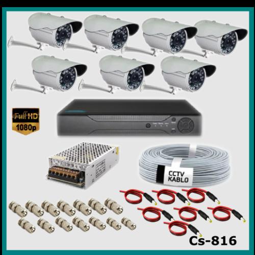 7 Kameralı Güvenlik Kamerası Sistemi AHD 1080P ( Cs 817 ) Harddisksiz