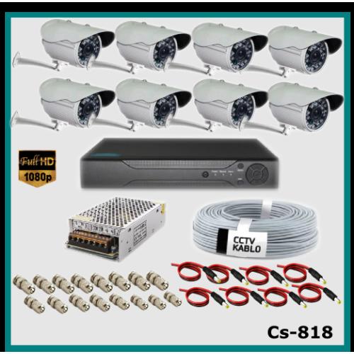 8 Kameralı Güvenlik Kamerası Sistemi AHD 1080P ( Cs 818 ) Harddisksiz