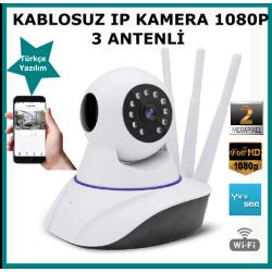 Kablosuz Hareketli Ip Kamera Fullhd 1080P 3 Anten