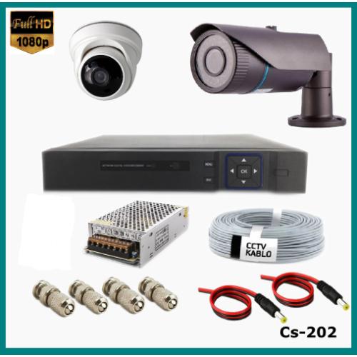 2 Kameralı 2MP Güvenlik Kamerası Sistemi AHD 1080P ( Cs 202 ) Harddisksiz