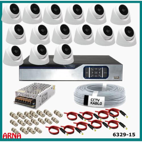 15 Kameralı İç Mekan Güvenlik  Seti Ahd 2Mp (Harddisksiz)