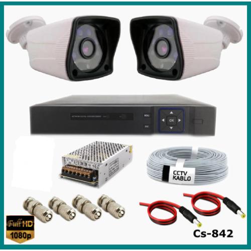 2 Kameralı Güvenlik Kamerası Sistemi AHD 1080P ( Cs 842 ) Harddisksiz