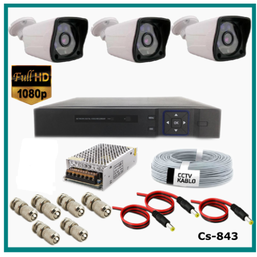 3 Kameralı Güvenlik Kamerası Sistemi AHD 1080P ( Cs 843 ) Harddisksiz