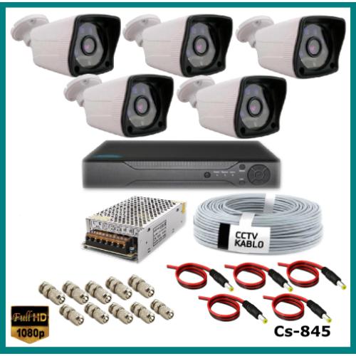 5 Kameralı Güvenlik Kamerası Sistemi AHD 1080P ( Cs 845 ) Harddisksiz