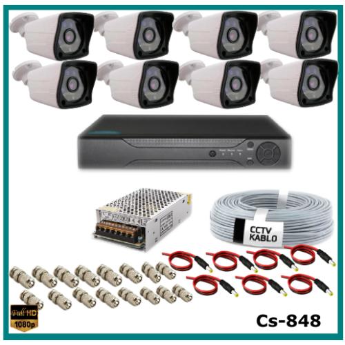 8 Kameralı 2MP AHD Güvenlik Kamerası Sistemi AHD 1080P ( Cs 848 ) Harddisksiz