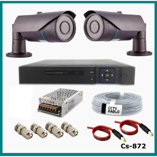 2 Kameralı 2MP Güvenlik Kamerası Sistemi AHD 1080P ( Cs 872 ) Harddisksiz