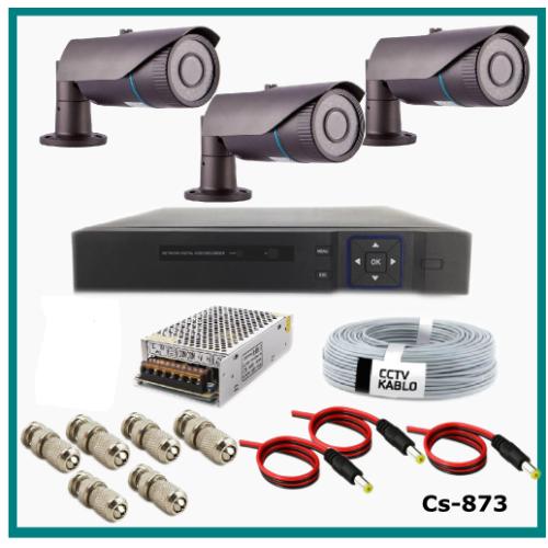 3 Kameralı Güvenlik Kamerası Sistemi AHD 1080P ( Cs 873 ) Harddisksiz