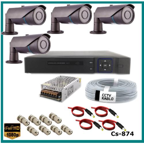4 Kameralı 2MP Güvenlik Kamerası Sistemi AHD 1080P ( Cs 874 ) Harddisksiz