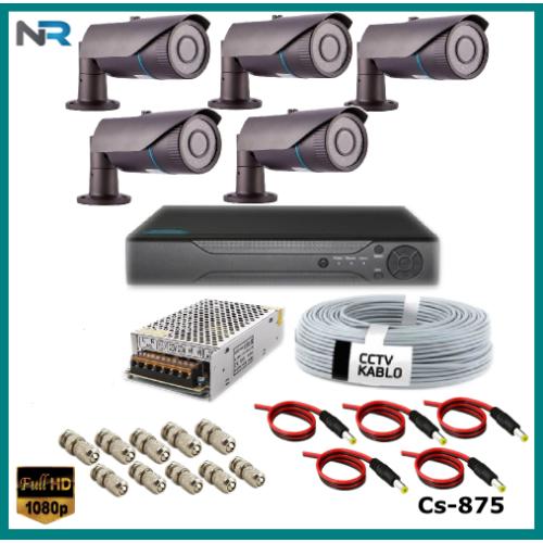 5 Kameralı 2MP Güvenlik Kamerası Sistemi AHD 1080P ( Cs 875 ) Harddisksiz