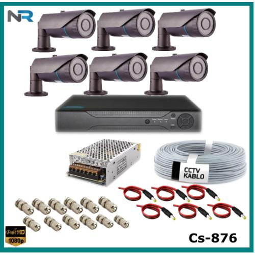 6 Kameralı 2MP Güvenlik Kamerası Sistemi AHD 1080P ( Cs 876 ) Harddisksiz