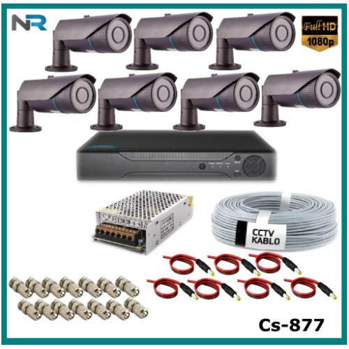 7 Kameralı 2Mp Güvenlik Kamerası Sistemi AHD 1080P ( Cs 877 ) Harddisksiz