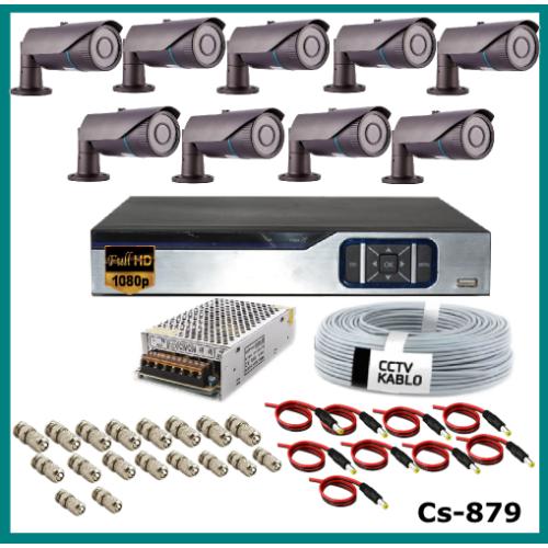 9 Kameralı 2MP Güvenlik Kamerası Sistemi AHD 1080P ( Cs 879 ) Harddisksiz