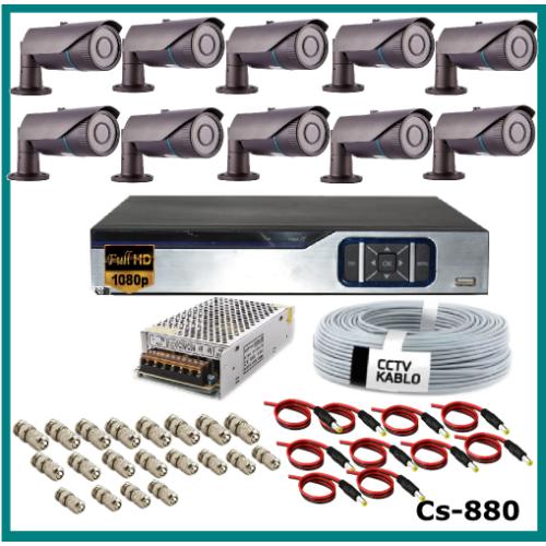 10 Kameralı Güvenlik Kamerası Sistemi AHD 1080P ( Cs 880 ) Harddisksiz
