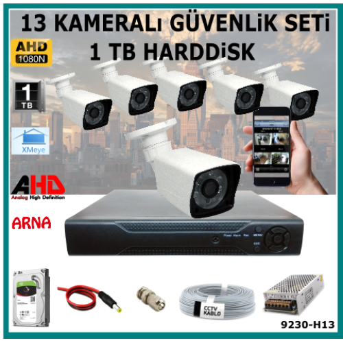 13 Kameralı Güvenlik Kamera Seti 2 Tb Hdd (9230-H13)