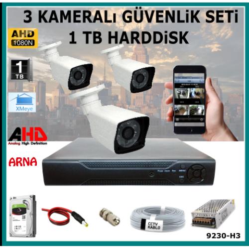 3 Kameralı Güvenlik Kamera Seti 1 Tb Hdd (9230-H3)