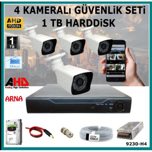 4 Kameralı Güvenlik Kamera Seti 1 Tb Hdd (9230-H4)