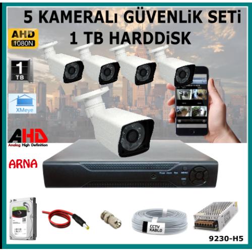 5 Kameralı Güvenlik Kamera Seti 1 Tb Hdd (9230-H5)