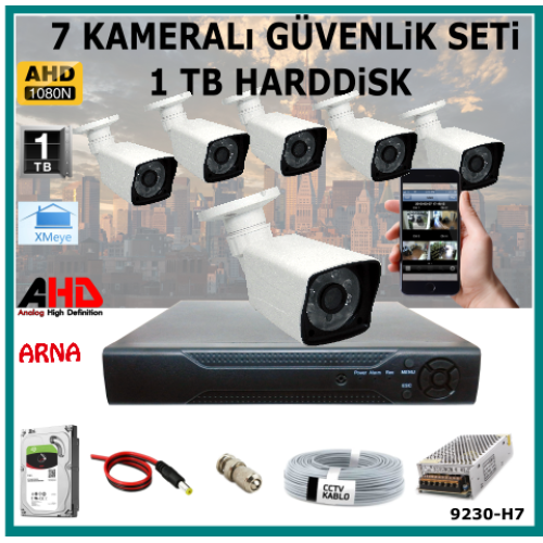 7 Kameralı Güvenlik Kamera Seti 1 Tb Hdd (9230-H7)