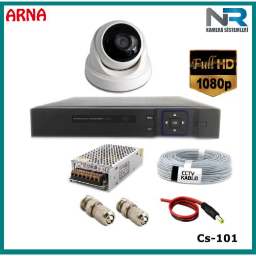 1 Kameralı  2MP Dome Güvenlik Kamerası Sistemi AHD 1080P Cs-101 Harddisksiz
