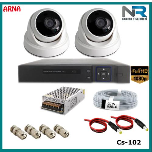 2 Kameralı 2MP Dome Güvenlik Kamerası Sistemi AHD 1080P Cs-102 Harddisksiz