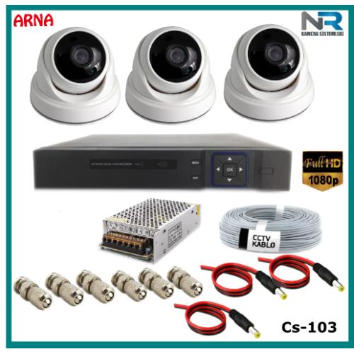 3 Kameralı 2MP Dome Güvenlik Kamerası Sistemi AHD 1080P Cs-103 Harddisksiz