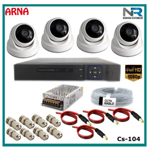 4 Kameralı 2MP Dome Güvenlik Kamerası Sistemi AHD 1080P Cs-104 Harddisksiz