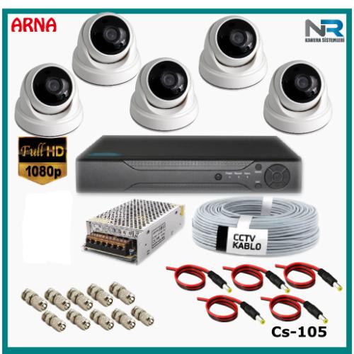 5 Kameralı 2MP Dome Güvenlik Kamerası Sistemi AHD 1080P Cs-105 Harddisksiz