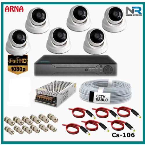 6 Kameralı 2MP Dome Güvenlik Kamerası Sistemi AHD 1080P Cs-106 Harddisksiz