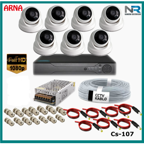 7 Kameralı 2MP Dome Güvenlik Kamerası Sistemi AHD 1080P Cs-107 Harddisksiz