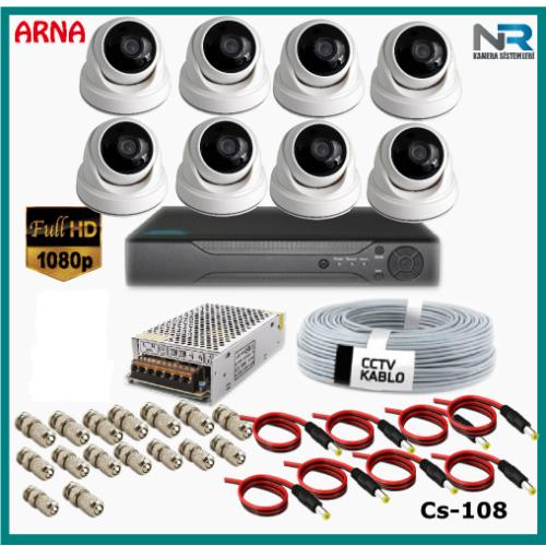 8 Kameralı 2MP Dome Güvenlik Kamerası Sistemi AHD 1080P Cs-108 Harddisksiz
