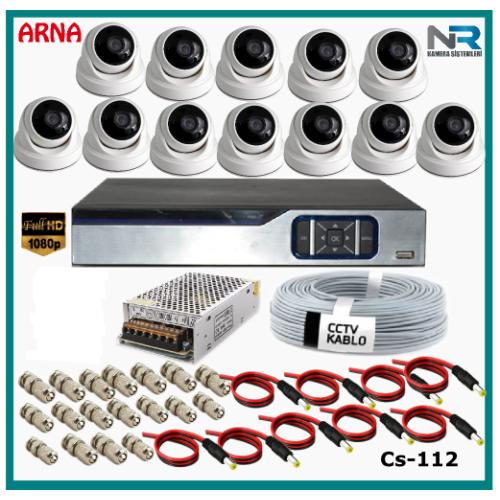 12 Dome Kameralı Güvenlik Kamerası Sistemi AHD 1080P Cs 112 Harddisksiz
