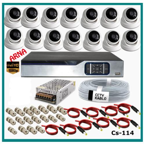14 Dome Kameralı Güvenlik Kamerası Sistemi AHD 1080P Cs 114 Harddisksiz