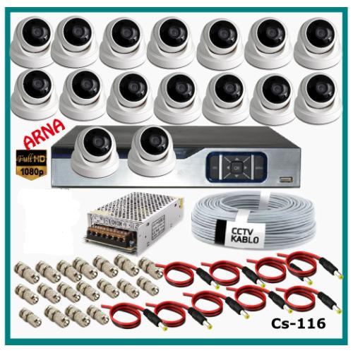 16 Dome Kameralı Güvenlik Kamerası Sistemi AHD 1080P Cs 116 Harddisksiz