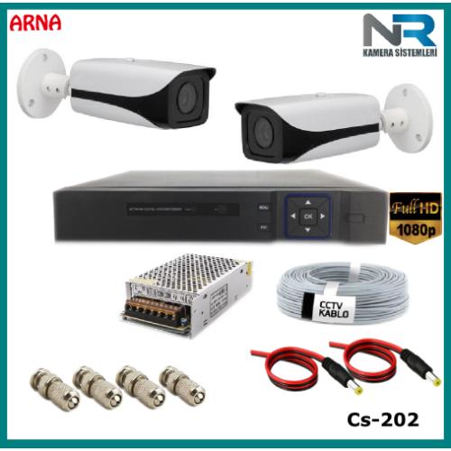 2 Kameralı Güvenlik Kamerası Sistemi AHD 1080P ( Cs 202D) Harddisksiz