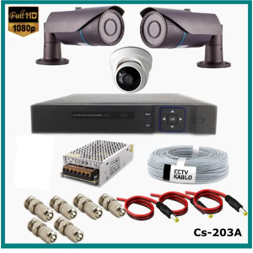 3 Kameralı (2Dış+1 İç) 2MP Güvenlik Kamerası Sistemi AHD 1080P  Cs-203A Harddisksiz