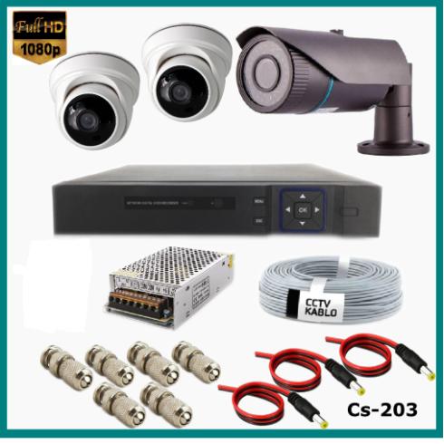 3 Kameralı (1Dış+2 İç) 2MP Güvenlik Kamerası Sistemi AHD 1080P  Cs-203 Harddisksiz