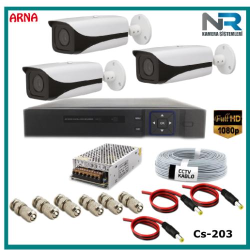 3 Kameralı Güvenlik Kamerası Sistemi AHD 1080P ( Cs 203D) Harddisksiz