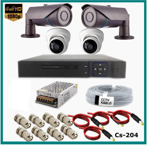 4 Kameralı (2Dış+2 İç) 2MP Güvenlik Kamerası Sistemi AHD 1080P  Cs-204 Harddisksiz