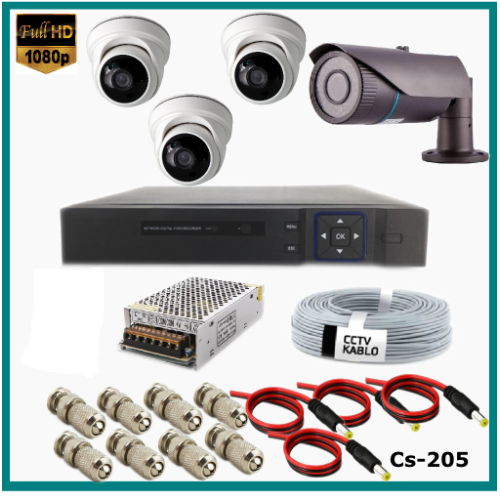 4 Kameralı (1Dış+3 İç) 2MP Güvenlik Kamerası Sistemi AHD 1080P  Cs-205 Harddisksiz