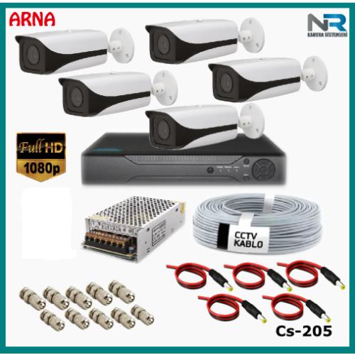 5 Kameralı Güvenlik Kamerası Sistemi AHD 1080P ( Cs 205D) Harddisksiz