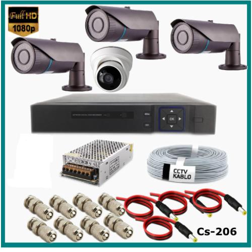 4 Kameralı (3Dış+1 İç) 2MP Güvenlik Kamerası Sistemi AHD 1080P  Cs-206 Harddisksiz