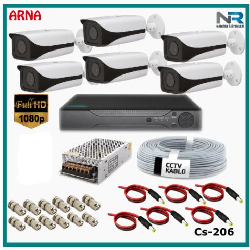 6 Kameralı Güvenlik Kamerası Sistemi AHD 1080P ( Cs 206D) Harddisksiz