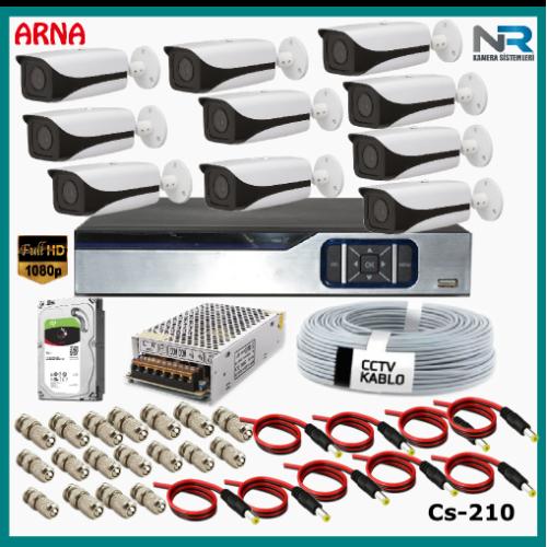 10 Kameralı Güvenlik Kamerası Sistemi AHD 1080P ( Cs 210D) Harddisksiz