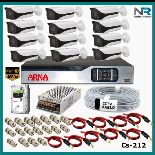 12 Kameralı Güvenlik Kamerası Sistemi AHD 1080P ( Cs 212D) Harddisksiz