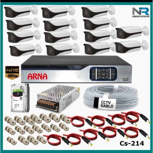 14 Kameralı Güvenlik Kamerası Sistemi AHD 1080P ( Cs 214D) Harddisksiz